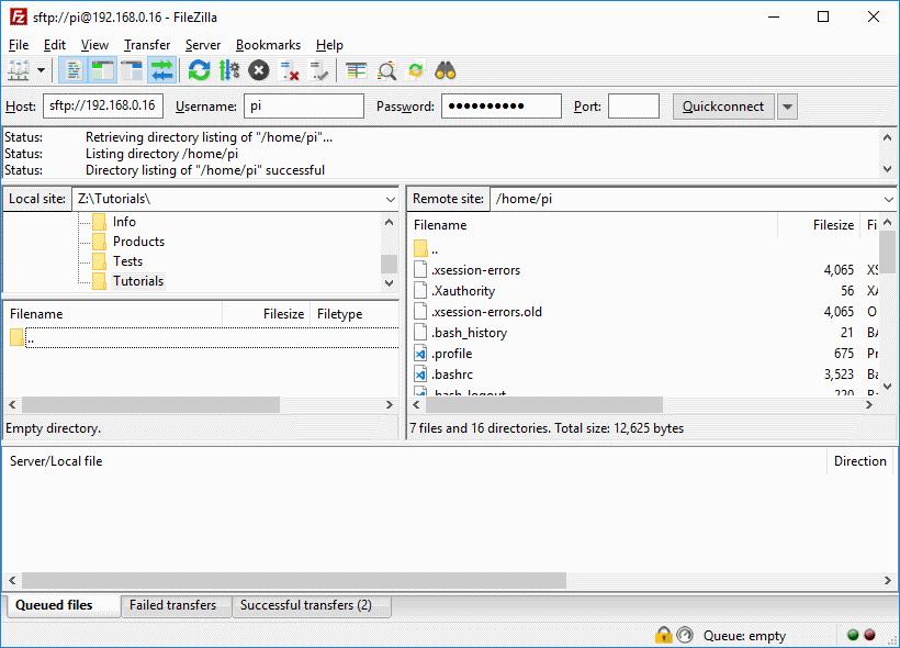 FileZilla Connecting Raspberry Pi and PC
