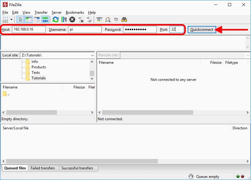 Raspberry Pi connection FileZilla Host