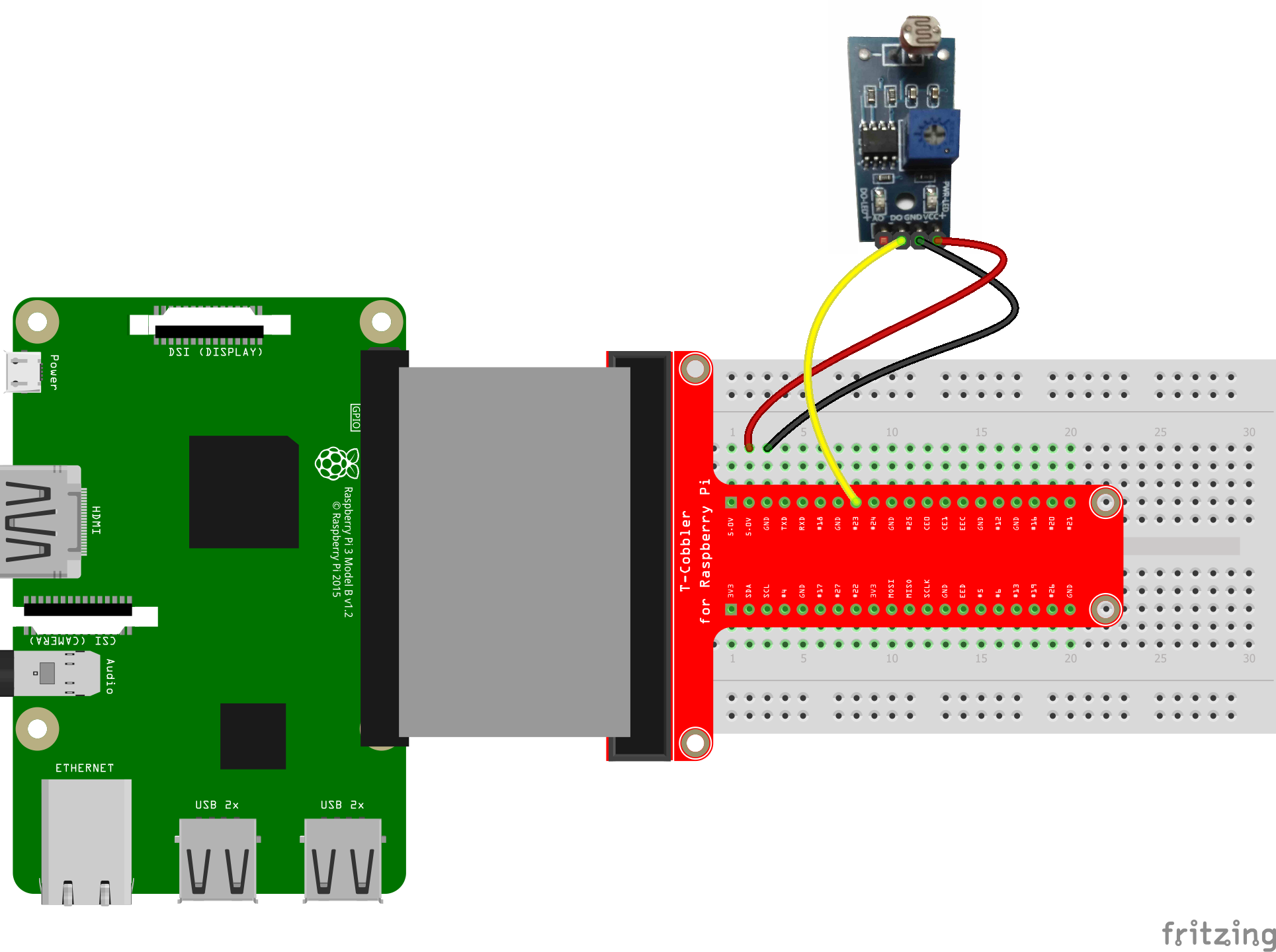 Raspberry Pi light sensor fritzing