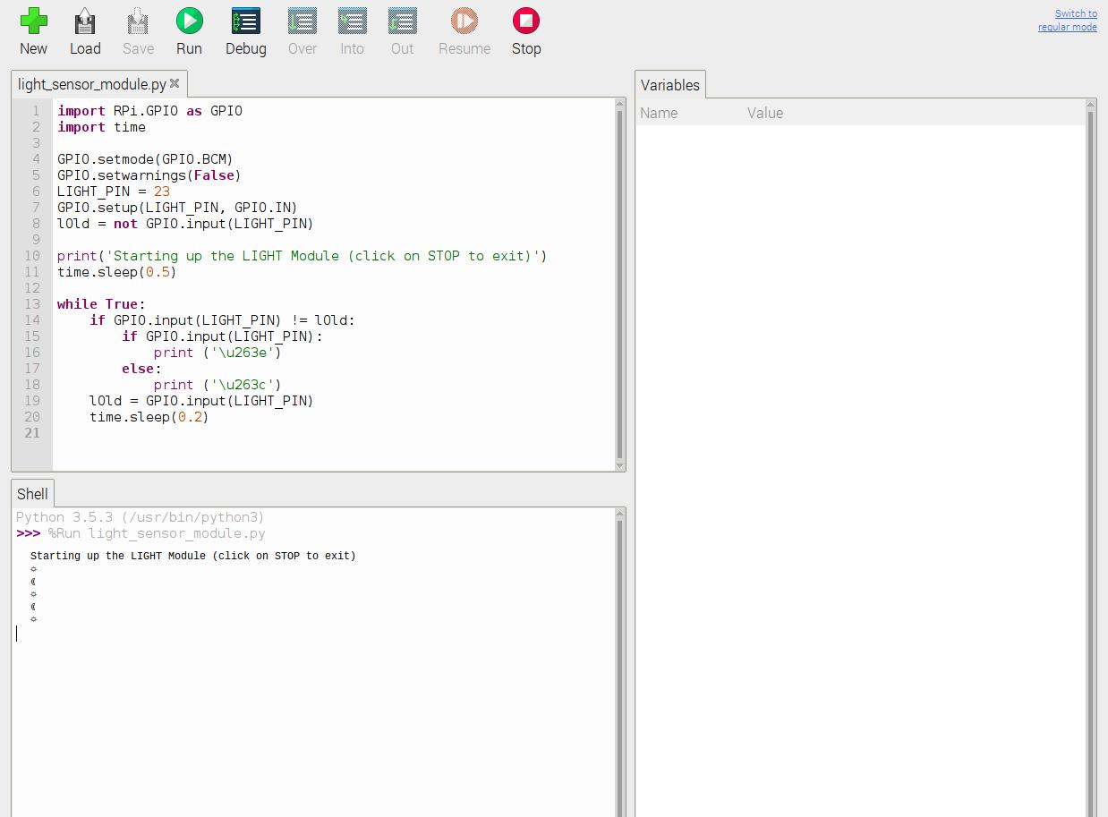 Python script for light sensor